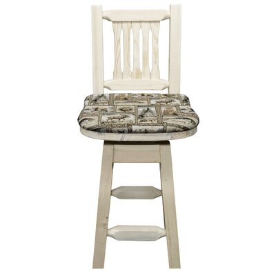 Homestead 24 Swivel Bar Stool with Cushion Finish: Clear Lacquer Finish