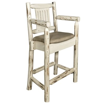 Abordale 24 Rustic Bar Stool Upholstery: Buckskin, Finish: Ready to Finish