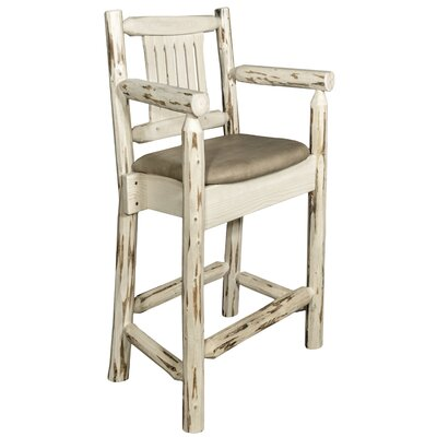 Abordale 24 Rustic Bar Stool Finish: Clear Lacquer Finish, Upholstery: Buckskin