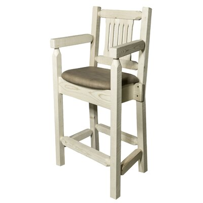 Homestead 24 Bar Stool with Cushion Finish: Ready to Finish, Upholstery: Buckskin