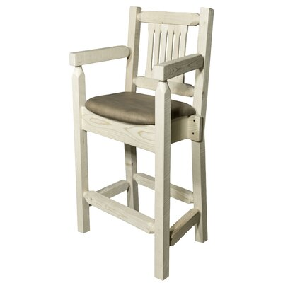 Abella 24 Square Bar Stool Finish: Clear Lacquer Finish, Upholstery: Buckskin