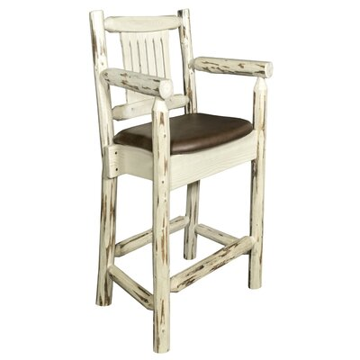 Montana 24 inch Bar Stool with Cushion Finish: Clear Lacquer Finish