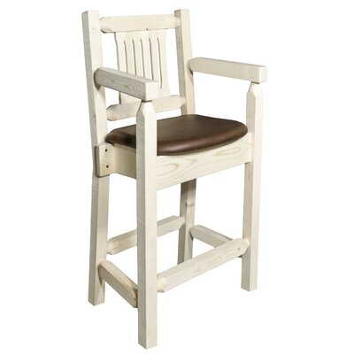 Homestead 24 inch Bar Stool with Cushion Finish: Clear Lacquer Finish