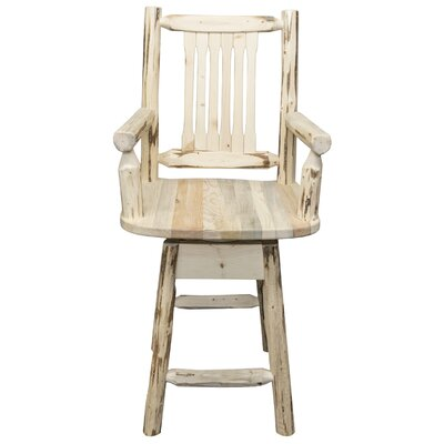 Abordale 24 Swivel Bar Stool Finish: Clear Lacquer Finish