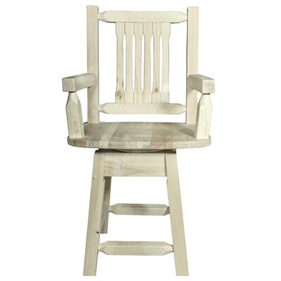 Abella 24 Rectangle Swivel Bar Stool Finish: Clear Lacquer Finish