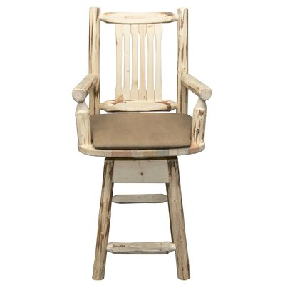 Montana 24 Swivel Bar Stool with Cushion Finish: Ready to Finish, Upholstery: Buckskin