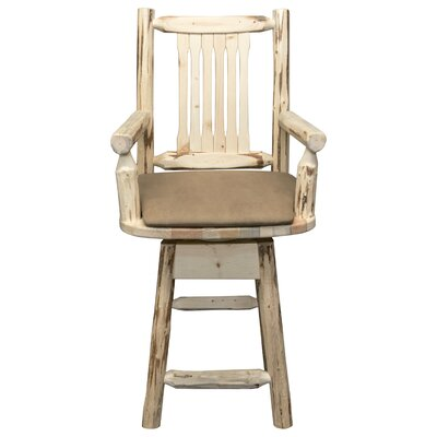 Abordale 24 Wood Swivel Bar Stool Upholstery: Wildlife, Finish: Ready to Finish