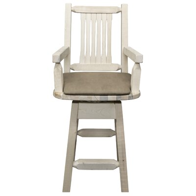 Abella 24 Rectangle Swivel Bar Stool Upholstery: Buckskin, Finish: Ready to Finish