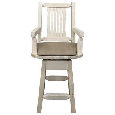 Homestead Collection 24 Swivel Bar Stool with Cushion Finish: Clear Lacquer Finish, Upholstery: Buckskin