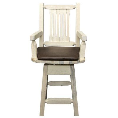 Abella 24 Rectangle Swivel Bar Stool Finish: Ready to Finish, Upholstery: Saddle