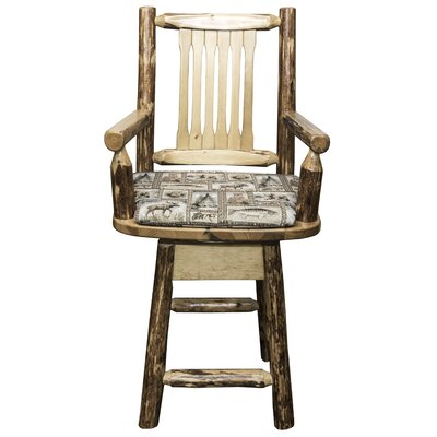 Tustin 24 Swivel Bar Stool with Cushion Upholstery: Wildlife