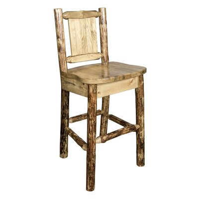 Southborough Rustic 24 Solid Wood Full Back Bar Stool