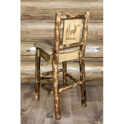 Tustin Laser Engraved Elk Design 30 Bar Stool Upholstery: Buckskin