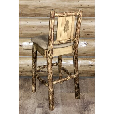 Tustin Laser Engraved Pine Tree Design 30 Bar Stool Upholstery: Buckskin