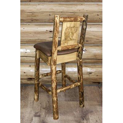 Tustin Wooden Laser Engraved Bear Design 30 Bar Stool Upholstery: Saddle