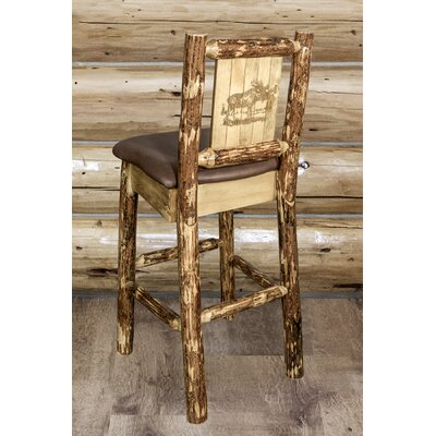 Tustin Wooden Laser Engraved Moose Design 30 Bar Stool Upholstery: Saddle