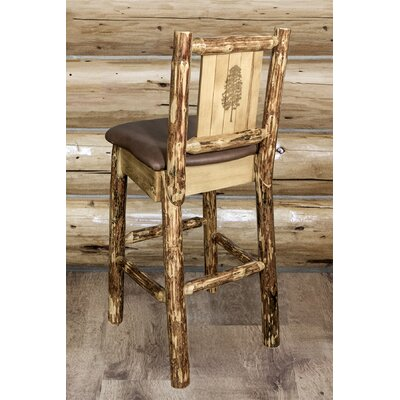 Tustin Laser Engraved Pine Tree Design 30 Bar Stool Upholstery: Saddle
