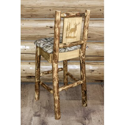 Tustin Wooden Laser Engraved Elk Design 30 Bar Stool Upholstery: Wildlife