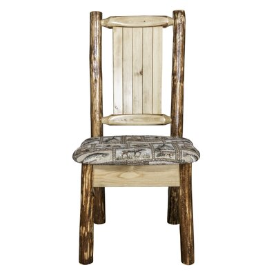 Tustin Engraved Wolf Side Chair Upholstery: Wildlife