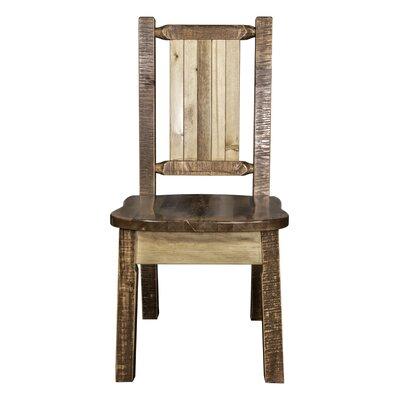 Abella Rustic Solid Wood Dining Chair Color : Brown Lacquer