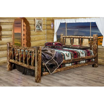 Tustin Panel Bed with Laser Engraved Wolf Design Size: Full/Double