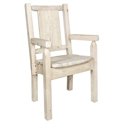Reyes Rustic Hand-Crafted Captains Solid Wood Dining Chair Color: Natural/Clear Lacquer