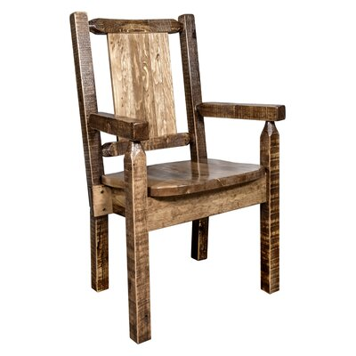 Reyes Rustic Hand-Crafted Captains Solid Wood Dining Chair Color: Brown