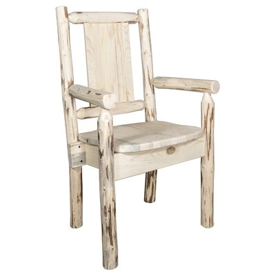 Riddle Rustic Captain's Solid Wood Dining Arm Chair Color: Natural/Clear Lacquer