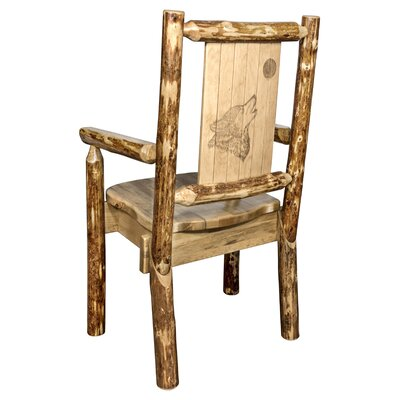 Rivas Captain's Solid Wood Dining Chair with Laser Engraved Wolf Design