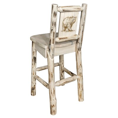 Toulon 30 Barstool with Back and Laser Engraved Bear Design Color: Natural