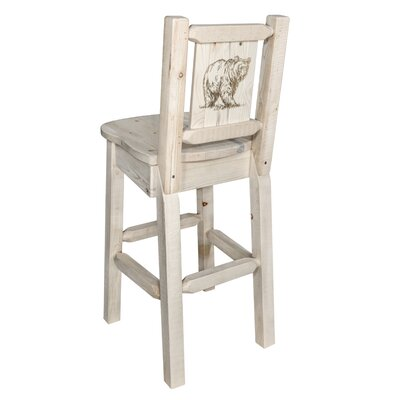 Halden 30 Barstool with Back and Laser Engraved Bear Design Color: Natural/Clear Lacquer