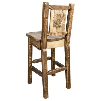 Halden 30 Barstool with Back and Laser Engraved Bear Design Color: Brown