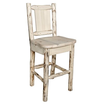 Toulon 30 Barstool with Back and Laser Engraved Bronc Design Color: Natural/Clear Lacquer