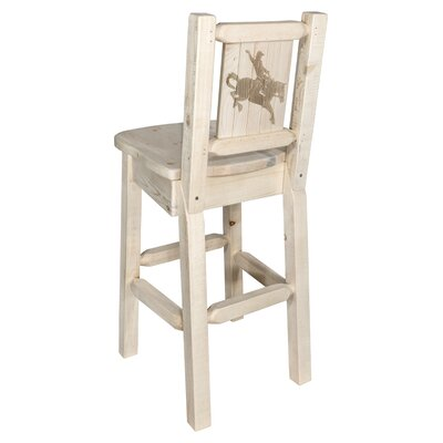 Halden 30 Barstool with Back and Laser Engraved Bronc Design Color: Natural/Clear Lacquer