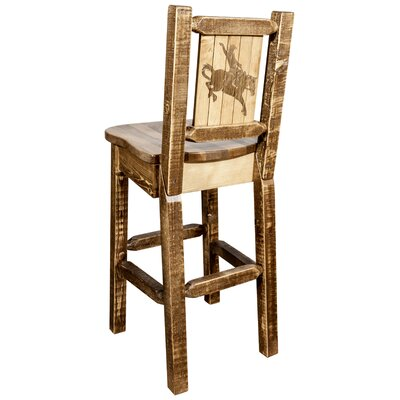 Halden 30 Barstool with Back and Laser Engraved Bronc Design Color: Brown