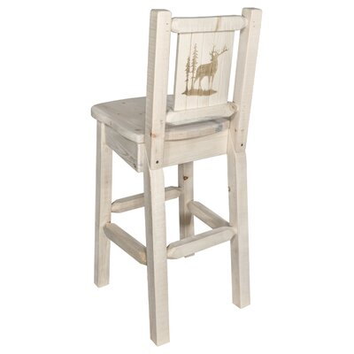Halden 30 Barstool with Back and Laser Engraved Elk Design Color: Natural