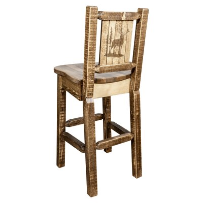 Halden 30 Barstool with Back and Laser Engraved Elk Design Color: Brown