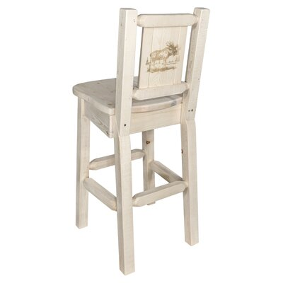 Halden 30 Barstool with Back and Laser Engraved Moose Design Color: Natural/Clear Lacquer