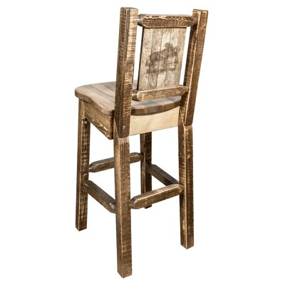 Halden 30 Barstool with Back and Laser Engraved Moose Design Color: Brown