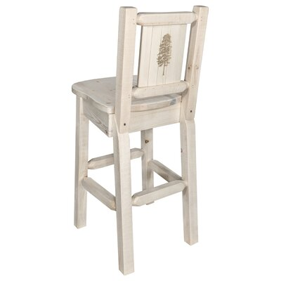 Halden 30 Barstool with Back and Laser Engraved Pine Tree Design Color: Natural/Clear Lacquer