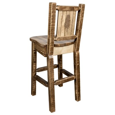 Halden 30 Barstool with Back and Laser Engraved Pine Tree Design Color: Brown