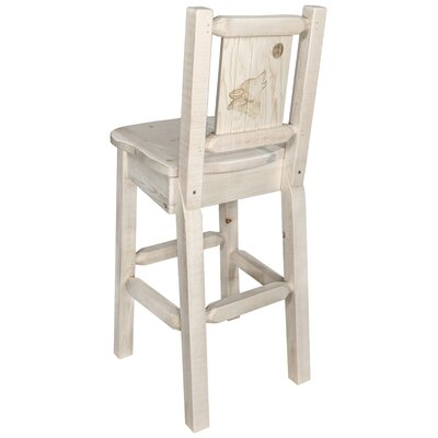 Halden 30 Barstool with Back and Laser Engraved Wolf Design Color: Natural/Clear Lacquer