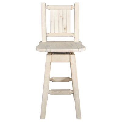 Abella 24 Square Seat Wood Swivel Bar Stool Color: Natural