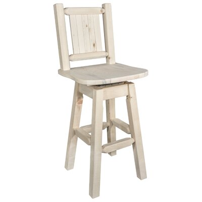 Abella 24 Square Seat Wood Swivel Bar Stool Color: Natural with Clear Lacquer