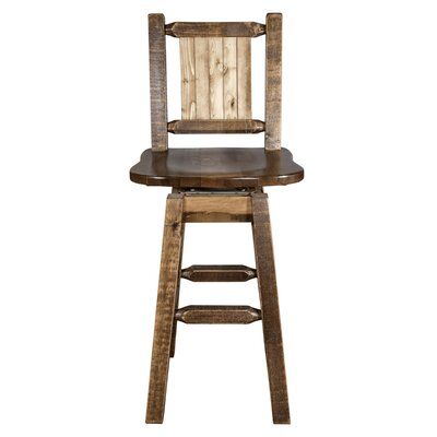 Abella 24 Square Seat Wood Swivel Bar Stool Color: Brown
