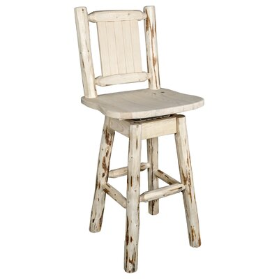 Prasad 24 Swivel Bar Stool Color: Natural with Clear Lacquer