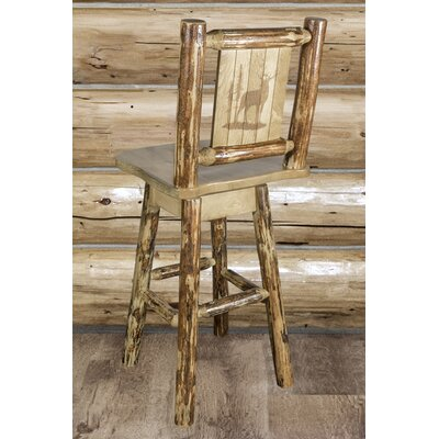 Tustin 24 Square Seat Wood Swivel Bar Stool