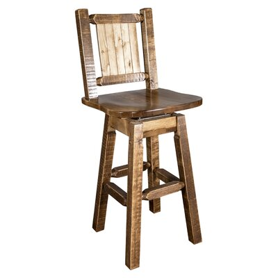 Abella Rustic 24 Swivel Bar Stool Color: Brown
