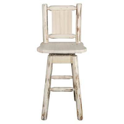 Rochester 30 Swivel Square Solid Wood Barstool Color: Natural