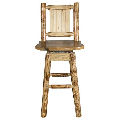 Rochester 30 Swivel Square Solid Wood Barstool Color: Brown